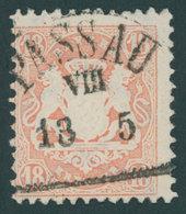 BAYERN 27Ya O, 1870, 18 Kr. Mattziegelrot, Wz. Weite Rauten, Zentrischer Segmentstempel PASSAU, Kabinett, Gepr. Bühler - Beieren