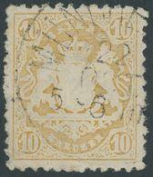 BAYERN 29Xb O, 1873, 10 Kr. Dunkelgelb, Wz. Enge Rauten, Pracht, Gepr. Brettl, Mi. 500.- - Beieren