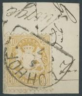 BAYERN 29Yb BrfStk, 1873, 10 Kr. Dunkelgelb, Wz. Weite Rauten, Segmentstempel LOHHOF Und Nebenstempel Chargé, Kabinettbr - Beieren