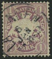 BAYERN 43 O, 1879, 1 M. Braunpurpur, Wz. 2, Pracht, Mi. 110.- - Beieren