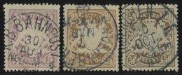 BAYERN 55,58/9A O, 1888, 5, 25 Und 50 Pf. Kleine Zähnungslöcher, Normale Zähnung, 3 Prachtwerte, Mi. 65.- - Beieren