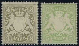 BAYERN 69/70x **, 1900, 3 Und 5 M, Mattorangeweißes Papier, Wz. 3, Postfrisch Pracht, Mi. 120.- - Beieren