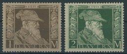 BAYERN 86/7I *, 1911, 1 Und 2 M. Luitpold, Type I, Falzreste, 2 Prachtwerte, Mi. 240.- - Beieren