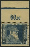BAYERN 89I O, 1911, 5 M. Luitpold, Type I, Pracht,Mi. 60.- - Beieren