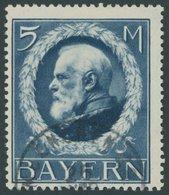 BAYERN 107Ia O, 1914, 5 M. Dunkelblau Friedensdruck, üblich Gezähnt Pracht, Dr. Helbig, Mi. 150.- - Beieren