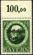 BAYERN 132IA **, 1919, 10 M. Volksstaat, Frühdruck, Pracht, Gepr. Dr. Helbig, Mi. 55.- - Beieren