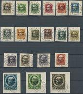 BAYERN 152-70A BrfStk, 1919, Freistaat, Gezähnt, Auf Briefstücken, Alle Mit Stempeln MÜNCHEN 2 B.P., Prachtsatz, Endwert - Beieren