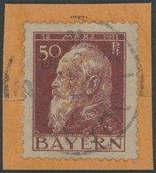 BAYERN D 11II PFII BrfStk, 1912, 50 Pf. Dunkelbraunrot Auf Hellgraubraun Mit Abart Am Unteren Balken Des E Fehlt Viertes - Beieren