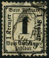 BAYERN P 2X O, 1870, 1 Kr. Schwarz, Wz. Enge Rauten, Kleine Mängel, Feinst, Gepr. Brettl, Mi. 1000.- - Beieren