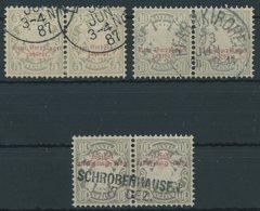 BAYERN P 5/6,9 Paar O, 1876/82, 5 Und 10 Pf. Staatswappen, 3 Waagerechte Paare, Feinst/Pracht, Mi. 145.- - Beieren