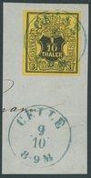 HANNOVER 5 BrfStk, 1851, 1/10 Th. Schwarz Auf Gelb, Blauer K1 CELLE, Großes Kabinettbriefstück, Kurzbefund Berger - Hanover