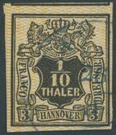HANNOVER 7a O, 1855, 1/10 Th. Schwarz, Orange Genetzt, Teils überrandig, Pracht, Mi. 200.- - Hanover