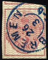 HANNOVER 8b O, 1856, 3 Pf. Karmin, Grau Genetzt, Blauer K2 BREMEN, Breit-riesenrandig, Kabinett, Mi. (450.-) - Hanover