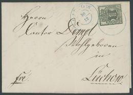 HANNOVER 9 BRIEF, 1857, 1 Gr. Schwarz/lebhaftolivgrün, Mit Blauem K2 Auf Brief Von GARTOW Nach Lüchow, Pracht - Hanover