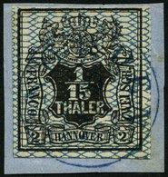 HANNOVER 11 BrfStk, 1856, 1/15 Th. Schwarz/grauultramarin NORDEN, Prachtbriefstück, Mi. (100.-) - Hanover