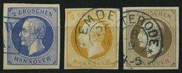 HANNOVER 15/6,19a O, 1859/61, 2 Gr. Blau, 3 Gr. Orange Und 3 Gr. Braun, 3 Prachtwerte, Mi. 205.- - Hanover
