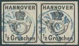 HANNOVER 17y Paar O, 1860, 1/2 Gr. Schwarz Im Waagerechten Paar, Blauer K1 MÜNDEN, Kabinett, Mi. (600.-) - Hanover