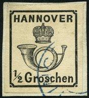 HANNOVER 17y BrfStk, 1860, 1/2 Gr. Schwarz, Prachtbriefstück, Mi. 250.- - Hanover