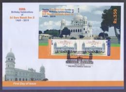 PAKISTAN 2019 FDC - Sikh Religion, 550th Birthday Celebrations Of Sri Guru Nanak Dev Ji, Souvenir Sheet Affixed On Big F - Pakistan