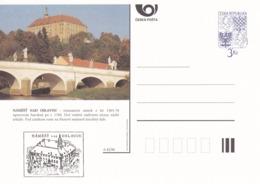 Czech Republic 1996 Postal Stationery Card: Architecture Castle Lion Eagle; NAMEST NAD OSLAVOU A42/96; Bridge - Architektur
