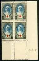 """N° 422 Cote 85 €. Coin Daté Du 9/3/39. Bloc De Quatre """"anniversaire De La Fondation De La Croix Rouge"""". - 1930-1939"""