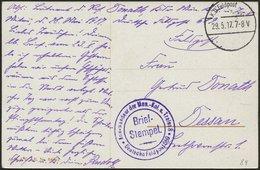 LETTLAND 8. Armee, 29.5.17, Mit Ausgestanztem Stempel K.D. FELDPOST Auf Farbiger Propagandakarte (Schipp Schipp Hurrah!) - Lettland