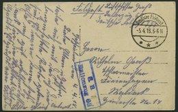 DT. FP IM BALTIKUM 1914/18 Ballonzug 68, Blauer R2, Mit Tarnstempel DEUTSCHE FELDPOST *** Auf Ansichtskarte, Pracht - Lettland