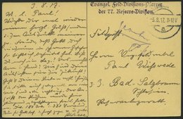 DT. FP IM BALTIKUM 1914/18 Evangel. Feld-Divisions-Pfarrer Der 77. Reserve-Division, Violetter L2, Auf Ansichtskarte Nac - Lettland