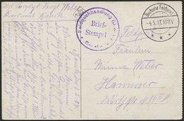 DT. FP IM BALTIKUM 1914/18 Feldpoststation Nr. 211, 4.5.17, Mit Tarnstempel DEUTSCHE FELDPOST ***, Auf Farbiger Ansichts - Lettland