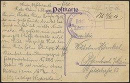 LETTLAND Feldpoststation Nr. 223, 4.3.16 (handschriftlich, Ohne Feldpoststempel), Auf Farbiger Ansichtskarte (Libau-Bahn - Lettland