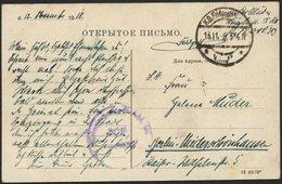 DT. FP IM BALTIKUM 1914/18 Feldpoststation Nr. 383, 13.11.18 (Spätdatum), Mit Aptiertem Stempel K.D. FELDPOST ** Auf Far - Lettland