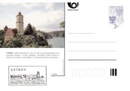 Czech Republic 1996 Postal Stationery Card: Architecture Castle Lion Eagle; ZVIKOV A48/96; - Architektur