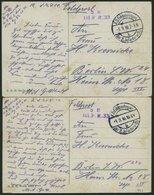 DT. FP IM BALTIKUM 1914/18 K.D. FELDPOSTEXPED. DER 2. INFANTERIE-DIV. B, 1. Und 5.9.16, Je Auf Farbiger Kitschkarte (Ser - Lettland