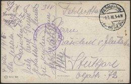 DT. FP IM BALTIKUM 1914/18 K.D. FELDPOSTEXP. DER 115. INF. DIV. B, 9.7.16, Auf Farbiger Künstlerkarte (Serie 303) Nach S - Lettland