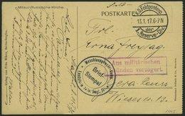 DT. FP IM BALTIKUM 1914/18 K.D. FELDPOSTEXP. DER 1 RESERVE DIV., 13.1.17, Auf Ansichtskarte (Mitau Russische Kirche) Nac - Lettland