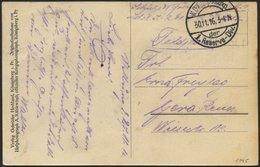LETTLAND 1045 BRIEF, K.D. FELDPOSTEXP. DER 1 RESERVE DIV., 30.11.16, Auf Ansichtskarte (Tuckum-Kurland) Nach Gera, Mit S - Lettland