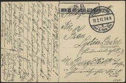 LETTLAND 1066 BRIEF, K.D. FELDPOSTEXP. DER 6. RES. DIV. A, 12.2.17, Auf Farbiger Ansichtskarte (Mitau-Schloß) Nach Burgs - Lettland