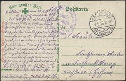 DT. FP IM BALTIKUM 1914/18 K.D. FELDPOSTEXP. 76. RESERVE DIV. B, 1.5.16, Auf Farbiger Ansichtskarte (Alarm Einer Kavalle - Lettland