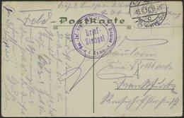 LETTLAND 1299 BRIEF, K.D. FELDPOSTEXP. 76. RESERVE DIV. C, 13.6.16, Auf Farbiger Ansichtskarte (Libau-Hafen) Nach Frankf - Lettland