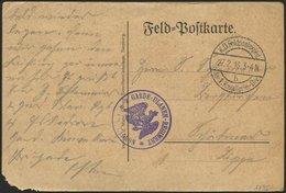 DT. FP IM BALTIKUM 1914/18 K.D. FELDPOSTEXPED. DER 1. KAVALLERIE-DIV. B, 27.2.16, Auf Feldpost-Vordruckkarte, Mit Violet - Lettland