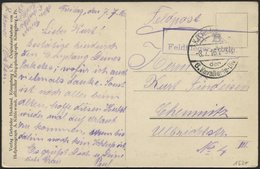 DT. FP IM BALTIKUM 1914/18 K.D. FELDPOSTEXP. DER 6. KAVALLERIE-DIV., 8.7.16, Auf Ansichtskarte (Mitau-Totalblick In Das  - Lettland