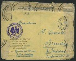 DT. FP IM BALTIKUM 1914/18 K.D. FELD-POSTESPED. 8. CAVALL. DIV., 19.11., Auf Feldpostbrief Nach Bromberg, Mit Violettem  - Lettland