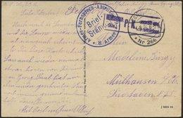 DT. FP IM BALTIKUM 1914/18 K.D. FELDPOSTSTATION NR. 266 **, 4.9.16, Auf Ansichtskarte (Russisches Kleinbauern-Gehöft (Ku - Lettland