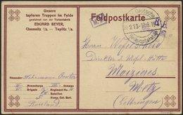 DT. FP IM BALTIKUM 1914/18 KAIS. DEUTSCHE FELDPOSTSTATION NR. 213, Type I, 17.9.15, Auf Feldpostkarte (mit Eindruck: Uns - Lettland