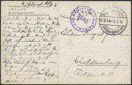 LETTLAND 2123 BRIEF, KAIS. DEUTSCHE FELDPOSTSTATION NR. 214, 15.3.16, Auf Farbiger Künstlerkarte (Aus Der Massenschlacht - Lettland