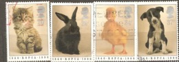 Great Britain: Full Set Of 4 Used Stamps, 150 Years Of Royal Society Fro Small Animals, 1990, Mi#1245-1248 - 1952-.... (Elizabeth II)