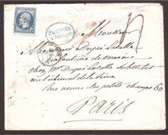 Lettre PURIFIÉE Toulon, Cachet Bleu En Ovale 1855 Pour Paris - Marcophilie (Lettres)