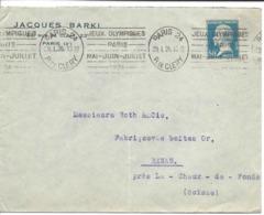 FRANCE 29.1.1924 Oblitération Mécanique JEUX OLYMPIQUES PARIS MAI-JUIN-JUILLET Paris 24, R. DE CLERY Lettre Pour Suisse - Ete 1924: Paris
