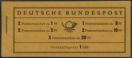 MARKENHEFTCHEN MH 4Xv **, 1958, Markenheftchen Heuss/Ziffer, Deckel Dunkelchromgelb, Pracht, Mi. 100.- - Markenheftchen