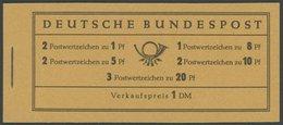MARKENHEFTCHEN MH 4YI RLV V **, 1960, Markenheftchen Heuss Lieg. Wz., Erstauflage, Randleistenvariante V, Postfrisch, Pr - Markenheftchen